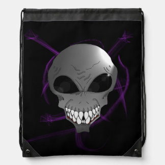 Grey alien Drawstring Backpack