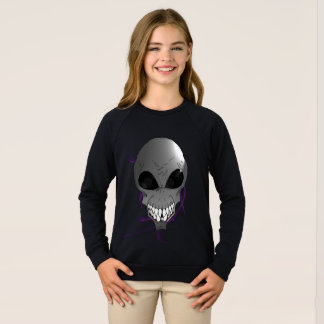 Grey alien Girls American Apparel Raglan Sweatshir Sweatshirt