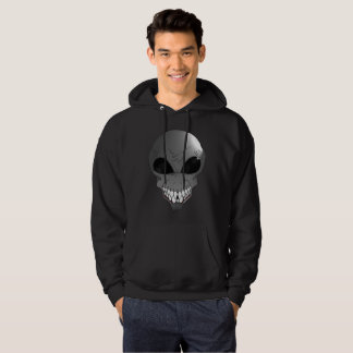 Grey alien Men's Basic Hooded Sweatshirt