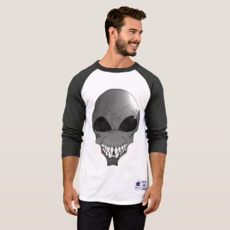 Grey alien Men's Champion Sleeve Raglan T-Shirt