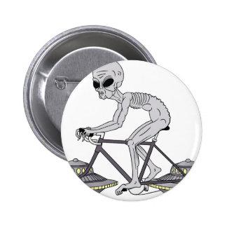 Grey Alien Riding Bike With UFO Wheels 2 Inch Round Button