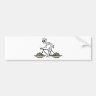 Grey Alien Riding Bike With UFO Wheels Bumper Sticker