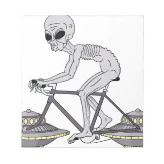 Grey Alien Riding Bike With UFO Wheels Notepad