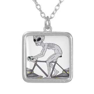 Grey Alien Riding Bike With UFO Wheels Silver Plated Necklace