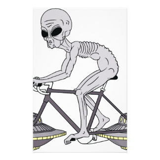 Grey Alien Riding Bike With UFO Wheels Stationery