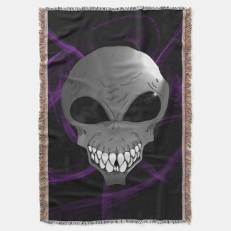 Grey alien Throw Blanket