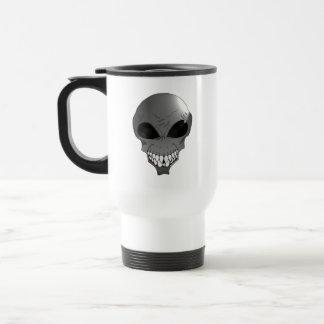 Grey alien travel coffee mug