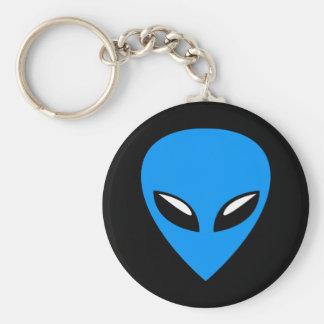 Grey Alien UFO Blue Basic Round Button Keychain