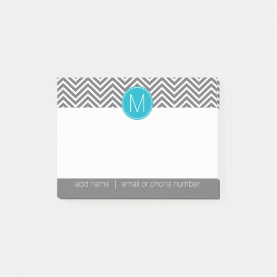 Grey and Aqua Blue Chevrons with Custom Monogram Post-it® Notes