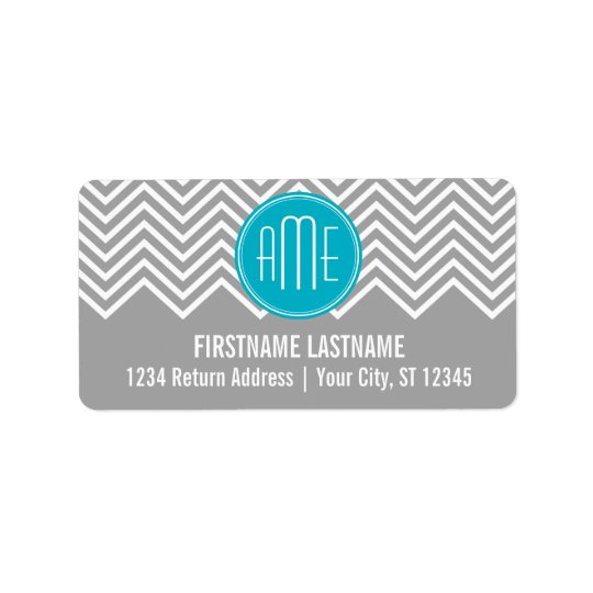 Grey and Aqua Chevron Pattern with Modern Monogram Label