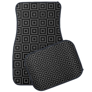 Grey and Black Abstract Square Pattern Floor Mat