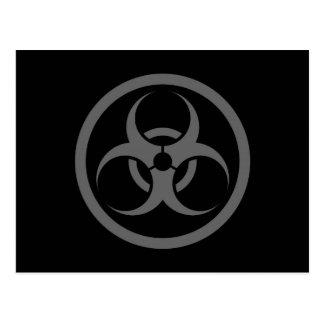 Grey and Black Bio Hazard Circle Post Cards