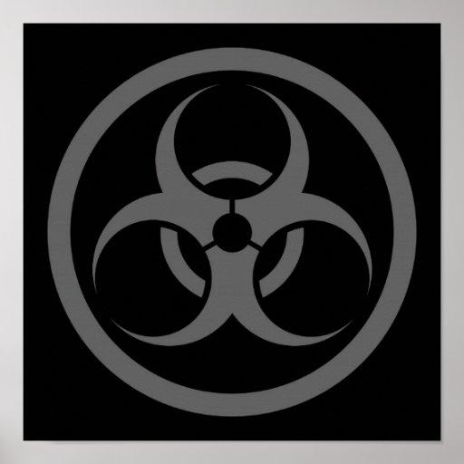 Grey and Black Bio Hazard Circle Posters