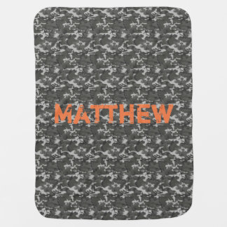 Grey and Black Camo Baby Blanket with Name