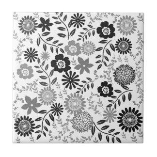 Grey and black pattern floral ceramic tiles