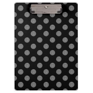 Grey and black polka dots clipboard