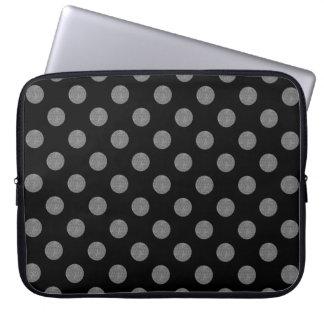 Grey and black polka dots laptop computer sleeves