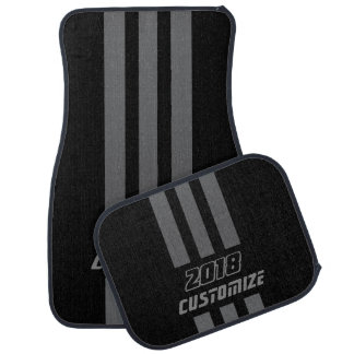 Grey And Black Race Double Stripes Car Mat