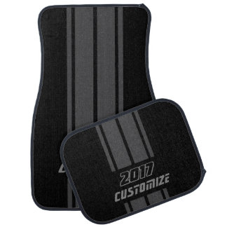 Grey And Black Race Double Stripes | Personalize Auto Mat