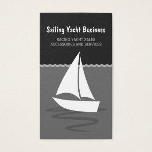 Nautical design business cards business card printing zazzle ca grey and black sailing yacht sail boat boating business card reheart Choice Image