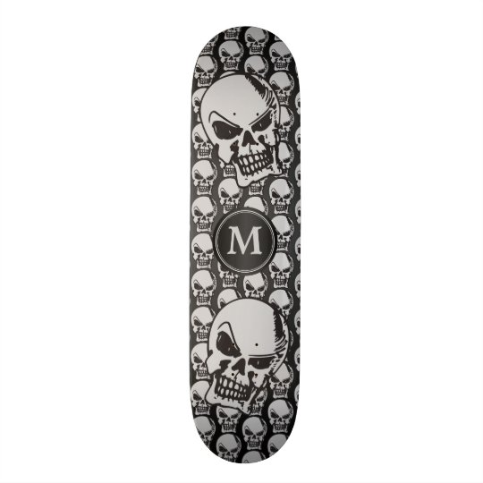 Grey and Black Skull Heads - Monogram Skate Deck