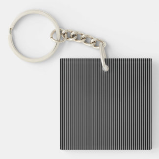 Grey and Black Stripes Double-Sided Square Acrylic Keychain
