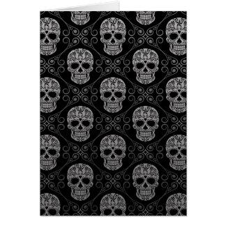 Grey and Black Sugar Skull Pattern Card
