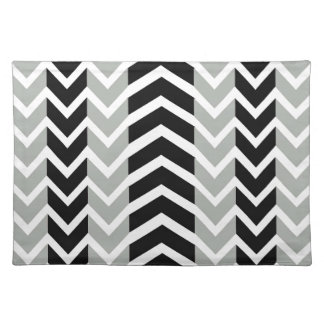 Grey and Black Whale Chevron Placemat