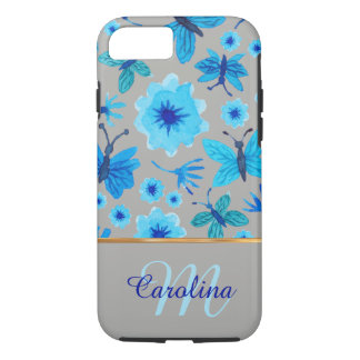 Grey and Blue Floral Butterflies,  Name &Monogram iPhone 8/7 Case