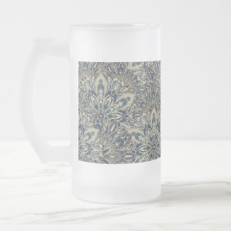 Grey and blue mandala pattern. frosted glass beer mug