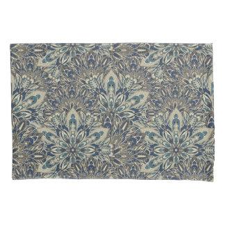 Grey and blue mandala pattern pillowcase