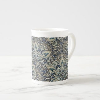 Grey and blue mandala pattern. tea cup