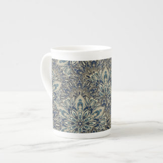 Grey and blue mandala pattern tea cup