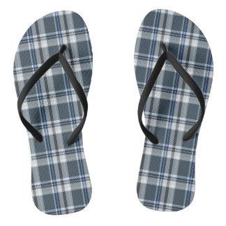 Grey and blue tartan flip flops