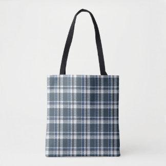 Grey and blue tartan tote bag