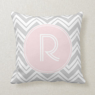Grey and Blush Chevron Pattern Monogram Pillow