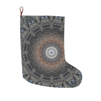 Grey and Burnt Orange Mandala Holiday Large Christmas Stocking