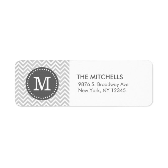 Grey and Charcoal Modern Chevron Custom Monogram Return Address Label