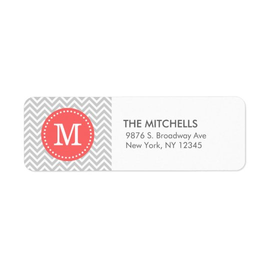 Grey and Coral Modern Chevron Custom Monogram Return Address Label