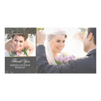 Grey and Gold Flowers Wedding Photo Cards