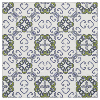 Grey and Green Floral Damask Pattern Fabric