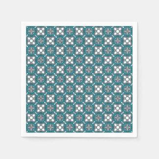 Grey and Green Kaleidoscope Pattern Disposable Napkins