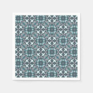 Grey and Green Kaleidoscope Pattern Paper Napkin