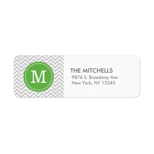 Grey and Green Modern Chevron Custom Monogram Return Address Label
