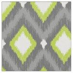 Grey and Green Tribal Ikat Chevron Fabric