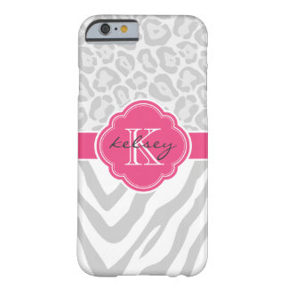 Grey and Hot Pink Animal Print Custom Monogram Barely There iPhone 6 Case