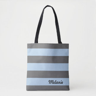 Grey and Light Blue Stripes Tote Bag