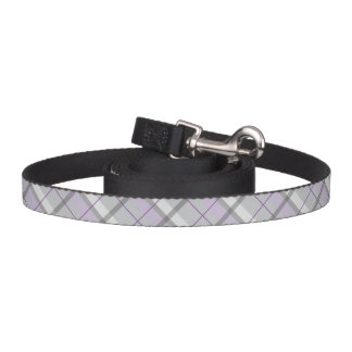 Grey And Lilac Plaid Tartan Pattern Dog Leash