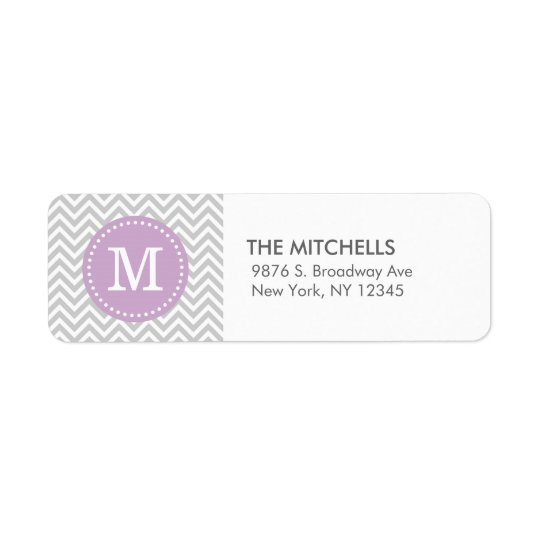 Grey and Lilac Purple Modern Chevron Monogram Return Address Label