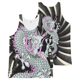 Grey and Lilac Splash Dragon with Wind Bars All-Over-Print Tank Top
